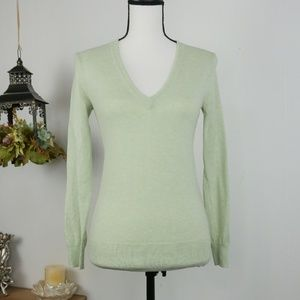 J.Crew Sweater Long Sleeve Green VNeck Pullover XS